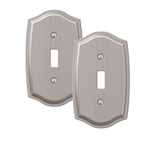 2-Pack Toggle Light Switch Wall Plate Stylish Stamped Steel, Brushed Nickel