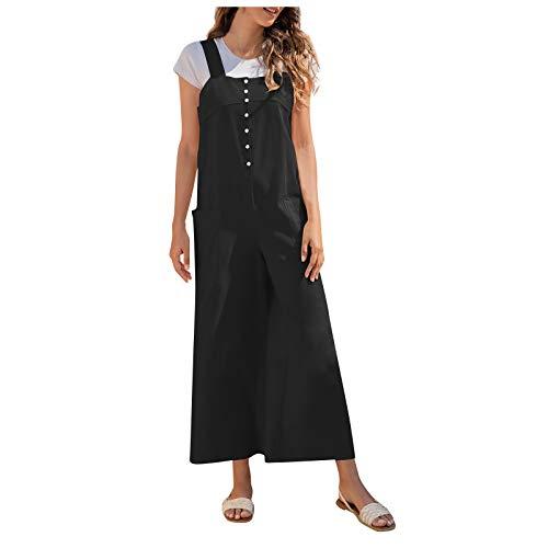 Saclerpnt Damen Latzhosen Baumwolle Jumpsuit Overall Dungarees Hosenanzug Hosen Lang mit Taschen Lässiger Jeansoveral (H, XXL)