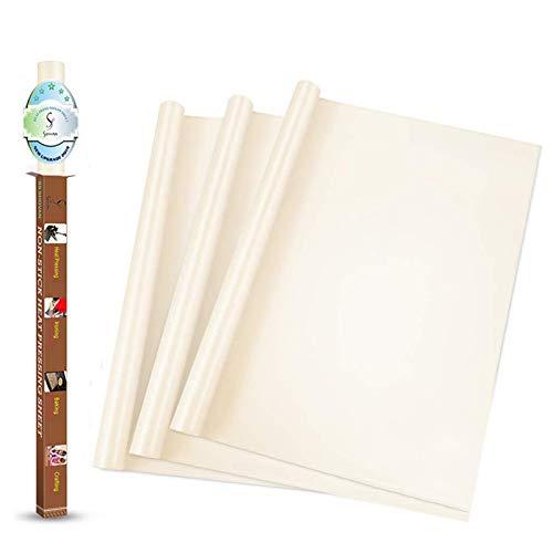 SS SHOVAN 3 Stück weiße PTFE-Teflonfolie für Wärmepresse, Transferfolie, 40,6 x 40,6 cm, antihaftbeschichtet, hitzebeständig, waschbar, wiederverwendbar