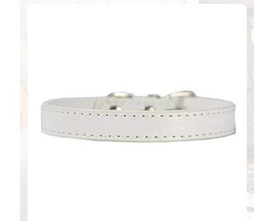 AZLLY comfortabele handgemaakte leren halsband, klassiek, verstelbaar, voor de hals, hondenriem, maat M, grote / kleine honden