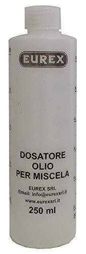 Öldosierer für Mischung, 250 ml mit Verschluss, abgestufter Skala und Prozentsätzen 2-4 %, 2,5-5 %, 3-6 %.