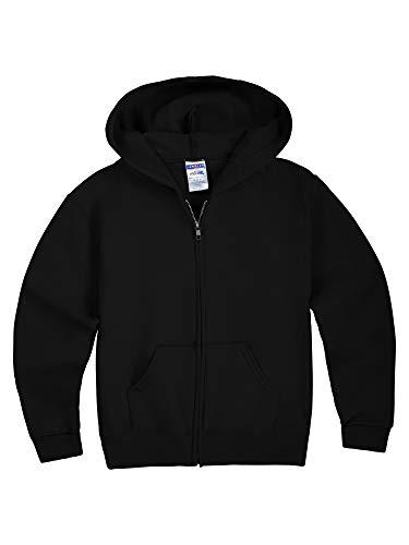 Jerzees Youth Full Zip Hooded Sweatshirt, Black, Medium