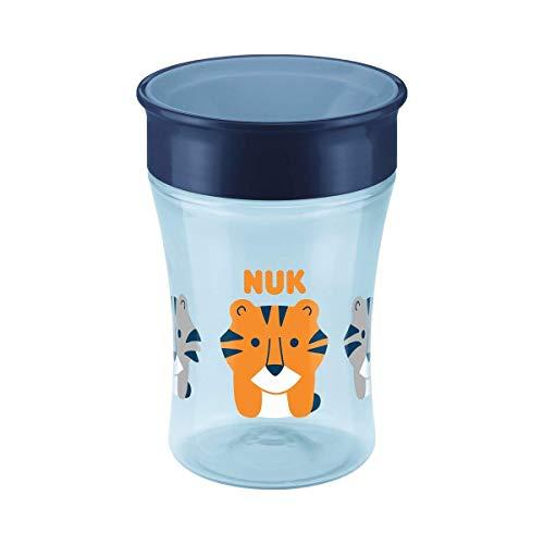 NUK Magic Cup drinkbeker, 360 drinkrand, lekvrij afdichtende siliconen schijf, 8 maanden, BPA-vrij, tijger (blauw), 230 ml