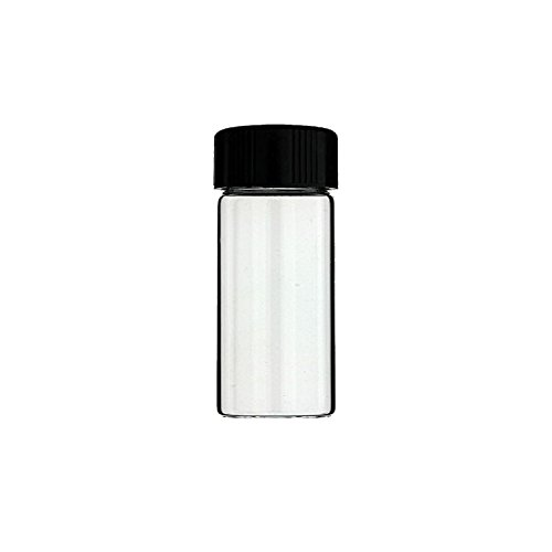 12-Pack of 3 inches, 30 mL, Clear Glass Bottles Storage Container Sample Cosmetic Herb Spice Specimen Vials with Black Phenolic Screw on Caps