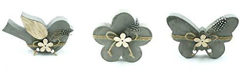 Small-prijs 3 TLG. Hout/beton set vogel - bloem en vlinder