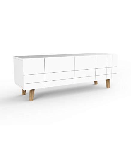 Destock Meubles Meuble TV scandinave Blanc 4 Portes
