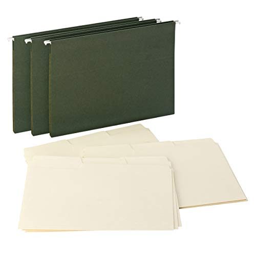"""Smead Reveal Hanging Folders with Manila SuperTab Folders Kit, 1/2"""" Expansion, 1/3-Cut Oversized Tabs, Letter Size, 15 Green/45 Manila Per Box (92016)"""