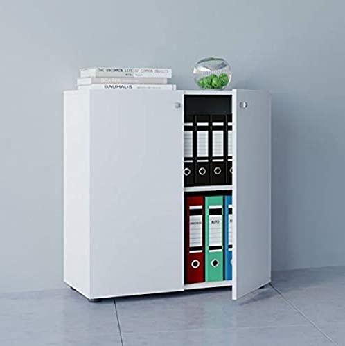 VCM Büroschrank Aktenschrank Bücherregal Universal Ordner Schrank Regal Weiß 70 x 70 x 39 cm 'Vandol Mini'