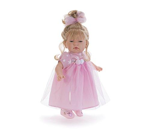 Nines D'oniel - Bambolotto 44cm, vestito rosa con ricami biachi, scarpette in pelle rosa
