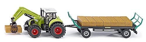 SIKU 1946, Claas Traktor mit Quaderballengreifer und Ballenwagen, 1:50, Metall/Kunststoff, Grün, Inkl. 12 Quaderballen