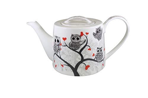 Jameson & Tailor Retro Teekanne Kaffeekanne Eulen und Herzen Brillant-Porzellan 1000ml Füllmenge