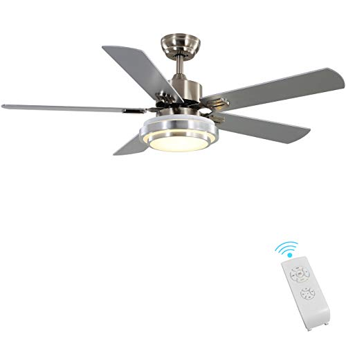 Indoor Ceiling Fan Light Fixtures - FINXIN Brushed Nickel Remote LED 52 Ceiling Fans For Bedroom,Living Room,Dining Room Including Motor,5-Blades,Remote Switch