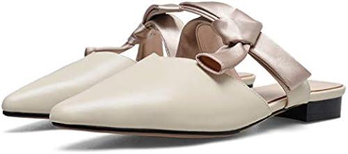 ZYNENFrühling und Sommer Frauen Frauen Frauen Flache Schuhe Tragen Dicke Flache Schuhe Mit Baotou Muller Schuhe Halbe Hausschuhe Flacher Mund  10 tage rückkehr