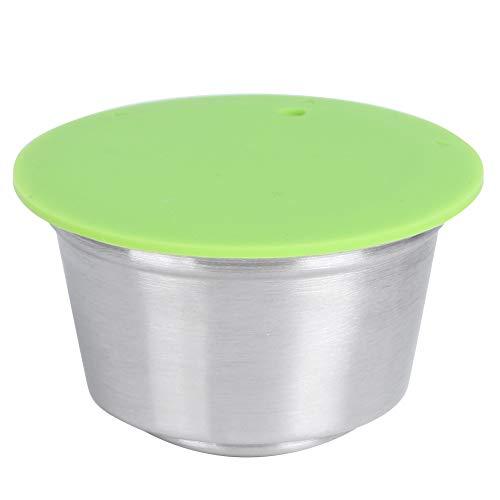 Fdit Taza de cápsula de café Recargable Reutilizable de Acero Inoxidable de Silicona Duradera con Cubierta de Polvo prensado Apto para cafetera Dolce Gusto 40 ml(4#)