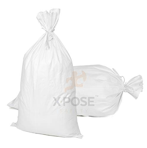 """18""""x30"""" Empty Sand Bags, 10 Pack with Ties – Heavy Duty Woven Polypropylene, UV Sun Protection, Dust, Water and Oil Resistant - Home and Industrial - Floods, Photography and More - by Xpose Safety"""