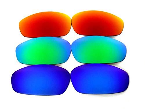 Galaxis Ersatzgläser für Oakley Split Jacket Blau Grün Rot 3 Paar - Blau/Grün/Rot, regular