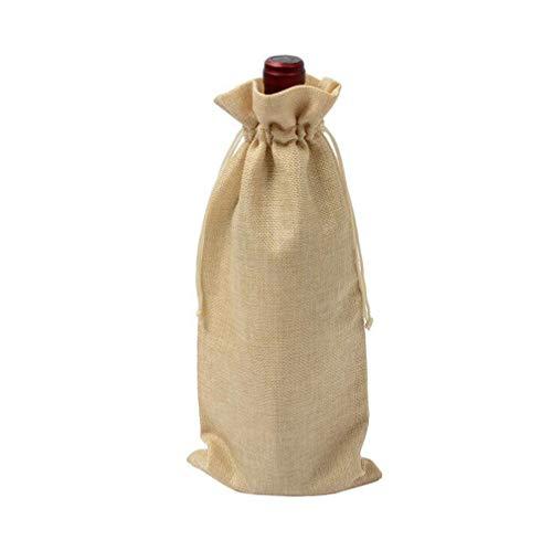 HMILYDYK Bolsas de regalo para botellas de vino con cordón reutilizables de yute para botellas de 750 ml, 10 unidades de lino ligero