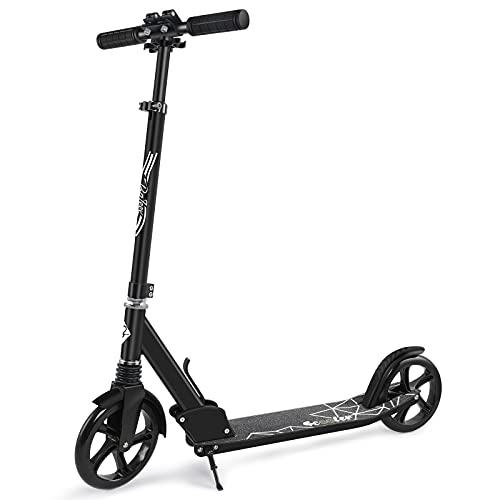 BELEEV Roller Erwachsene, Kick Scooter mit 2 Rädern, Cityroller mit Federung, Schnellverschluss Klappbar System, 4 Höhenverstellbare, 200mm Große Räder Roller für Kinder Jugendliche (Schwarz)