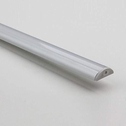 Heitronic Aluprofil für Aufbau matte Abdeckung halbrund für LED Streifen 1,02 Mtr mit Endkappen/Clips