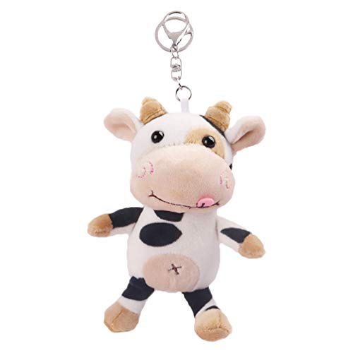 Balacoo Plush Animal Keychain Cartoon Fluffy Farm Cow Pendant Keychain Wallet Bag Accessories for Children Adults