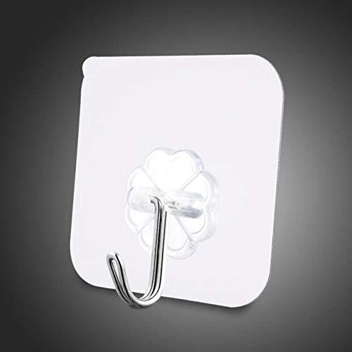 WMWM 6x6cm60 Nicht markierende Haken, zum Organisieren von Küche, Schlafzimmer, Bad und Anderen Gegenständen, 60 StückTransparent
