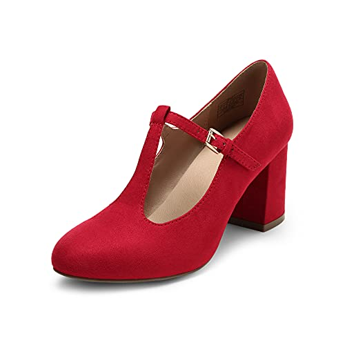 DREAM PAIRS Low Chunky Heels for Women DPU211 T-Strap Mary Jane Pumps Closed Toe Wedding Dress Shoes Red Size 7.5