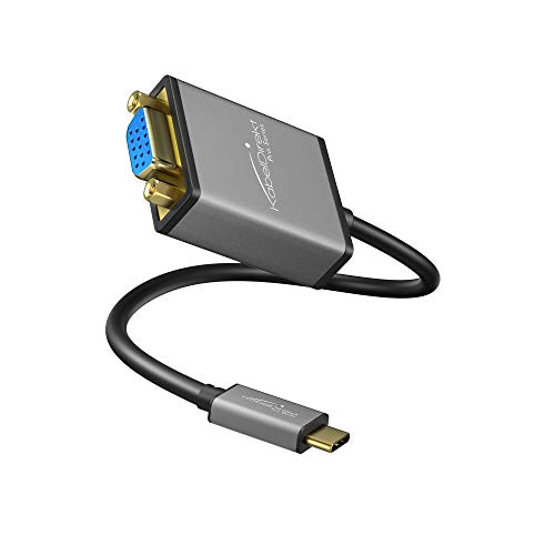 KabelDirekt USB C auf VGA Adapter (0,15m, USB C 3.1 und Thunderbolt 3, geeignet für MacBook Pro 2016/2017, MacBook 12, Chromebook Pixel und weitere Geräte, Pro Series)