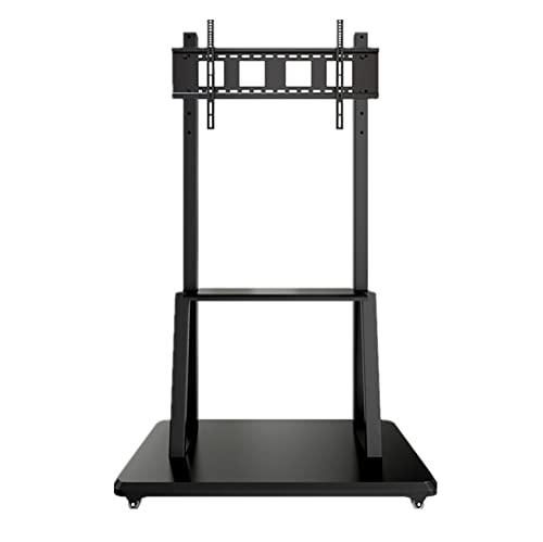 Soporte TV Suelo, soporte de TV móvil alto ajustable en altura para hasta 80 insh TV Soporte de montaje de TV con bandeja para 80 kg/Black / 97x46.5cm
