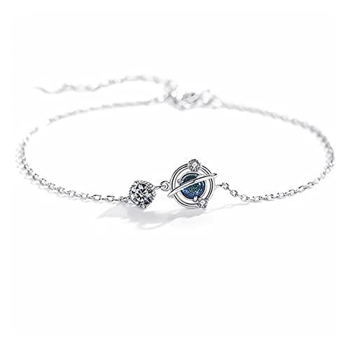 Pulsera, 925 Planeta de Cristal de Plata esterlina Pulsera del Encanto y Brazalete de la joyería de la Boda de Las Mujeres (Color : Silver)