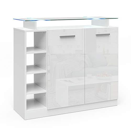 Vicco Kommode Asti Highboard LED Beleuchtung Glasablage Wohnzimmerschrank weiß (2 Türen)