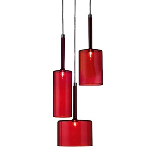 H XD GLOBAL 3-Light Red Glass Pendant Lights, Kitchen Island Hanging Light, Modern Glass Chandelier with Red Glass Lampshades Base G4 Bulbs (Red)