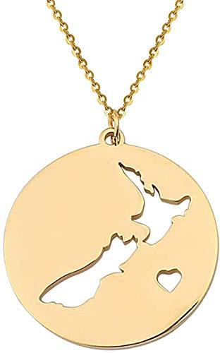Collar con Colgante de Mapa de Nueva Zelanda, Collar Redondo de Acero Inoxidable para Mujer, joyería de Mapa del país