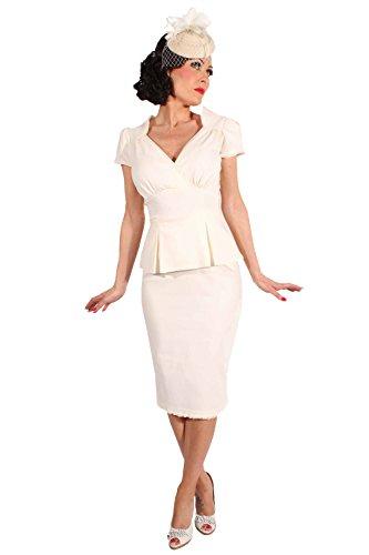 SugarShock 50s Schößchen Rockabilly Pencil Kleid Brautkleid Hochzeitskleid Creme