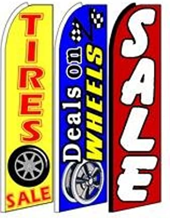 King Size Windless 38 x 138 in Polyester Swooper Flag pk of 2 Red Tire Sale