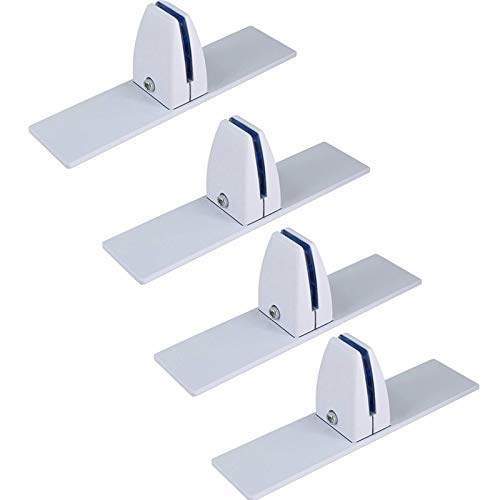 XRTJ Mamparas De Separación De Metacrilato Pinzas De Cristal para Mampara De Higiene Protector contra Estornudos Abrazaderas,Blanco,4pcs