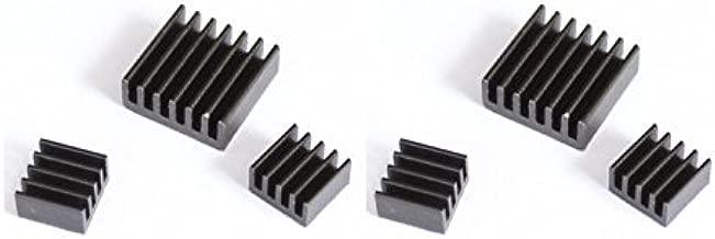 Games&Tech 2 Pack Black Aluminum Heatsink Cooler Cooling Kit with Adhesive for Raspberry Pi A A+ B B+ 2 3 Model B (2 Sets of 3 Aluminum Heat Sinks)
