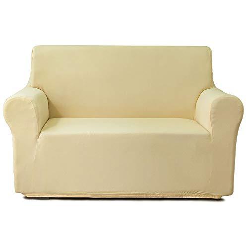 NICEEC - Funda de sofá para sofá de dos plazas, suave, sedosa, color amarillo claro, para sofá de dos plazas, súper elástica, universal, fácil de instalar, lavable,...