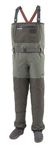 Simms フリーストーン ストッキングフット ウェイダー メンズ - 4層防水チェストウェーダー 砂利ガード付き - 通気性のある釣りストッキングフットウェーダー - フリース裏地ポケット&フライパッチ S
