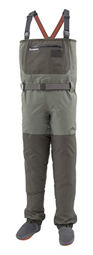 Simms Mens Freestone Waterproof Stockingfoot Chest Fishing Waders, Dk Gunmetal, Large 9-11'