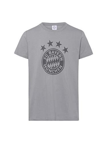 FC Bayern München T-Shirt Emblem, graues Shirt mit FCB-Logo auf der Brust, L