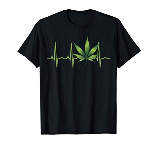 Regalo de la camiseta de la hoja de marihuana Heartbeat Camiseta