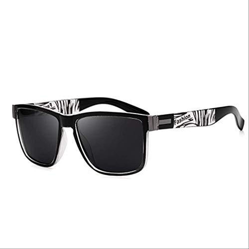 Genrics Gafas de Sol cuadradas polarizadas Hombres Vintage Driving Sport Protección UV Gafas de Sol Color Espejo Marco Blanco