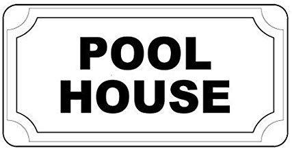 Kysd43Mill Schild mit Aufschrift Pool House, Retro-Vintage-Stil, aus Aluminium, mit Löchern