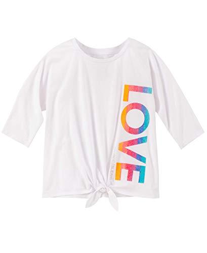 Calvin Klein Big Girls' Calvin Graphic Tee, White Love, S7