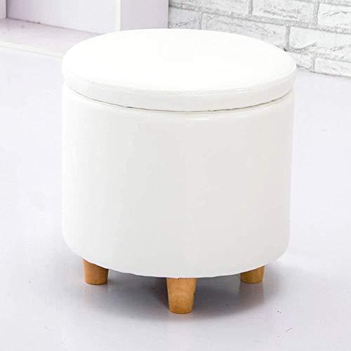 Taburete de pie Redondo de cuero de cuero otomanos Asiento de banco, caja de juguetes con bisagra Top Organizador Caja Portátil de almacenamiento de pecho ( Color : 42x42cm(17x17inch) , Size : White )