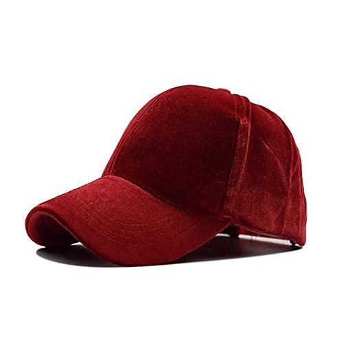 AOQW Sencillo para Spring Solid Color Sombreros De Béisbol Soft Touch Trucker Cap Golf Tenis Corriendo Senderismo Camping Pesca Accesorios De Ropa Deportiva- Rojo
