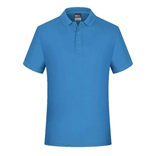 HUOLEO Homme Manches Courtes T-Shirt, Pur Coton Polo Couleur Unie Confort Salopette Anti-humidité Maillot De Corps pour Adulte Masculin-A-L