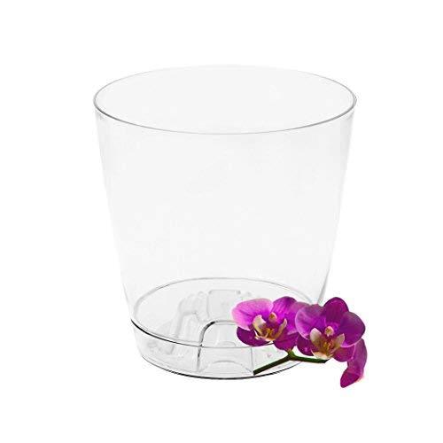 Garden4You - Maceta transparente para orquídeas, 13 cm o 17 cm de diámetro, con sistema de aireación interior, blanco, 17