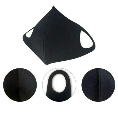 Reusable Washable Cloth Protection Face Cover Stretch Fashion Mask Black - Pack of 3