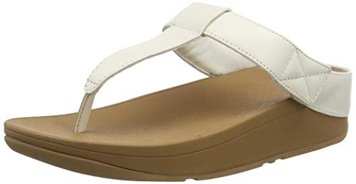 FitFlop Mina Adjustable Toe Post-Leather, Sandalias de Punta Descubierta Mujer, Blanco (Ss20 Jet Stream 031), 38 EU